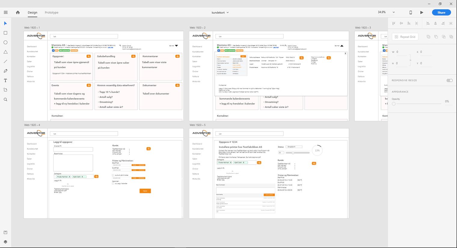 Adobe XD til prototyping av hjemmeside