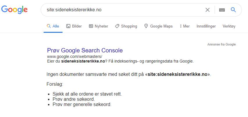 Bildet viser et site-søk i Google hvor man ikke får treff i søkeresultatet