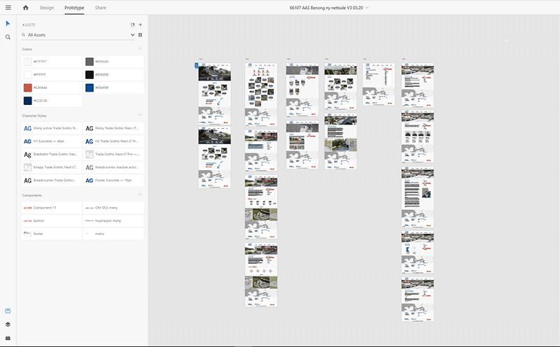 Adobe XD skjermbilde eksempel prototype hjemmeside