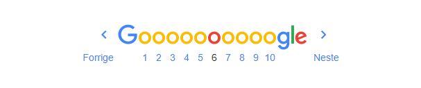 Bilde som viser forrige - neste eksempel og 10 sider fra google søkeresultat