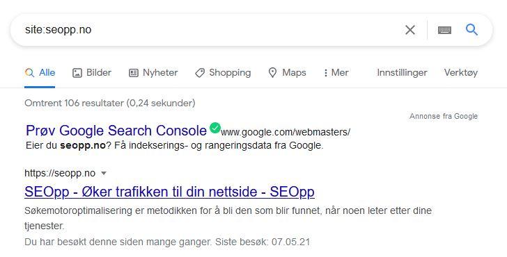 site: søk eksempel skjermdump
